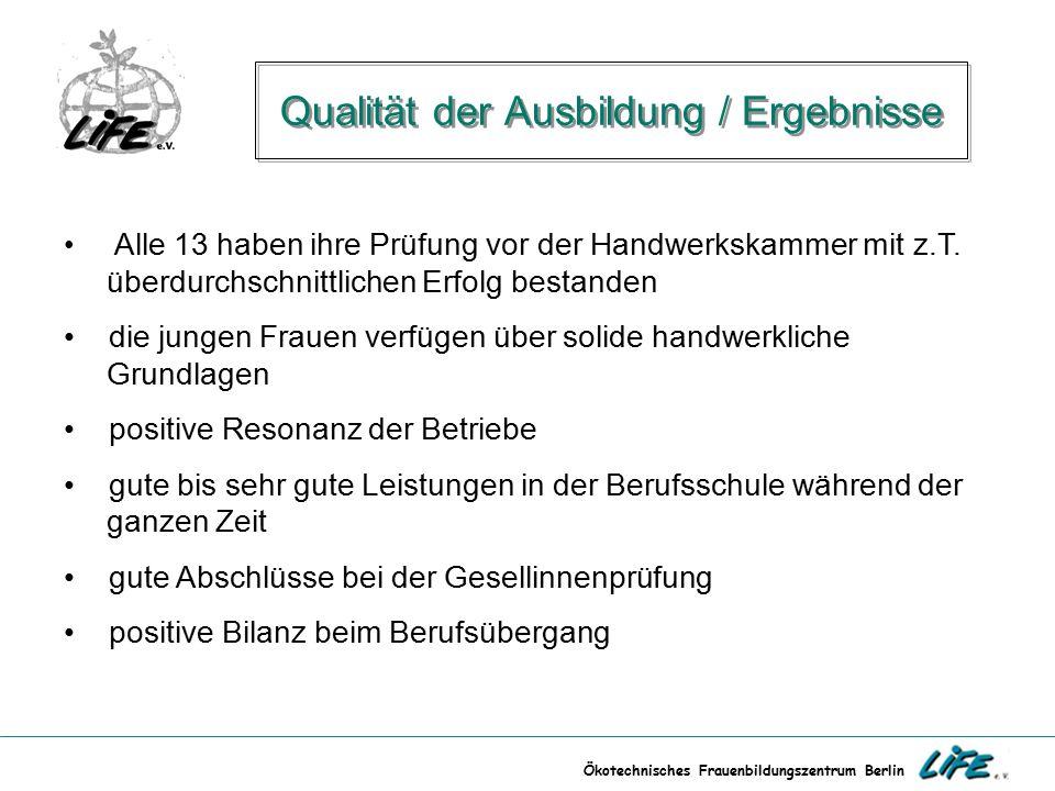 Ökotechnisches Frauenbildungszentrum Berlin Qualität der Ausbildung / Ergebnisse Alle 13 haben ihre Prüfung vor der Handwerkskammer mit z.T. überdurch