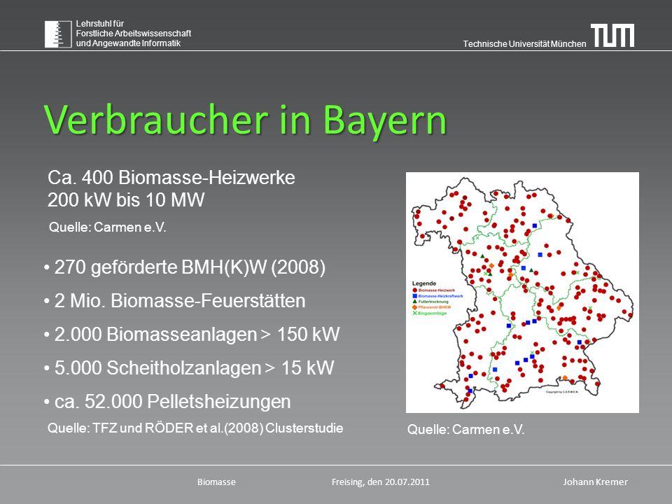 Technische Universität München Lehrstuhl für Forstliche Arbeitswissenschaft und Angewandte Informatik BiomasseFreising, den 20.07.2011 Johann Kremer Verbraucher in Bayern Quelle: Carmen e.V.