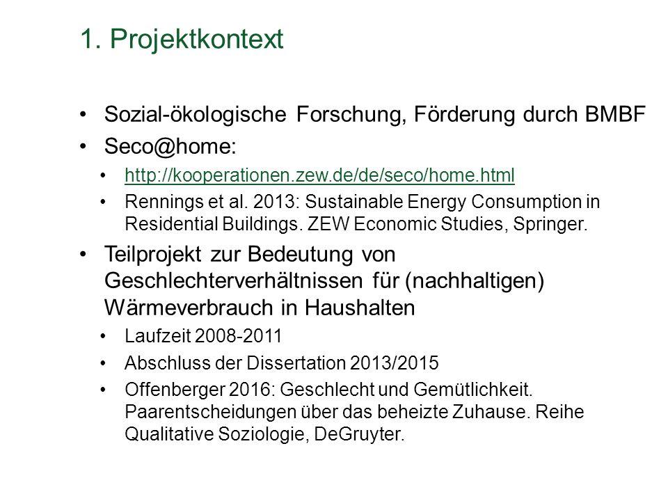 1. Projektkontext Sozial-ökologische Forschung, Förderung durch BMBF Seco@home: http://kooperationen.zew.de/de/seco/home.html Rennings et al. 2013: Su