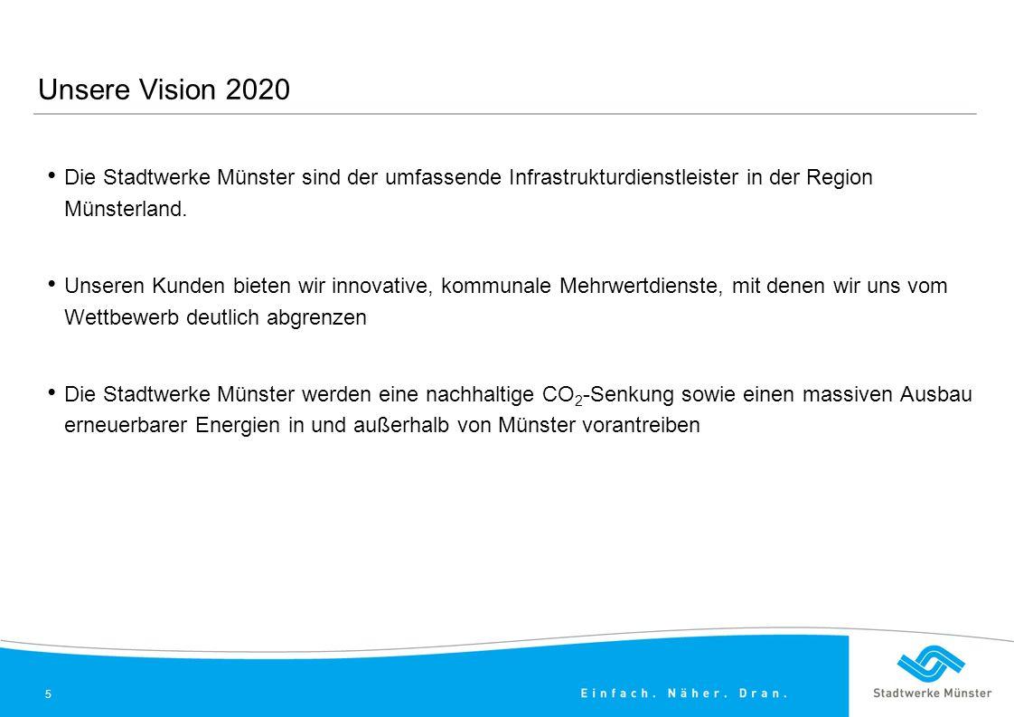Unsere Vision 2020 Die Stadtwerke Münster sind der umfassende Infrastrukturdienstleister in der Region Münsterland.