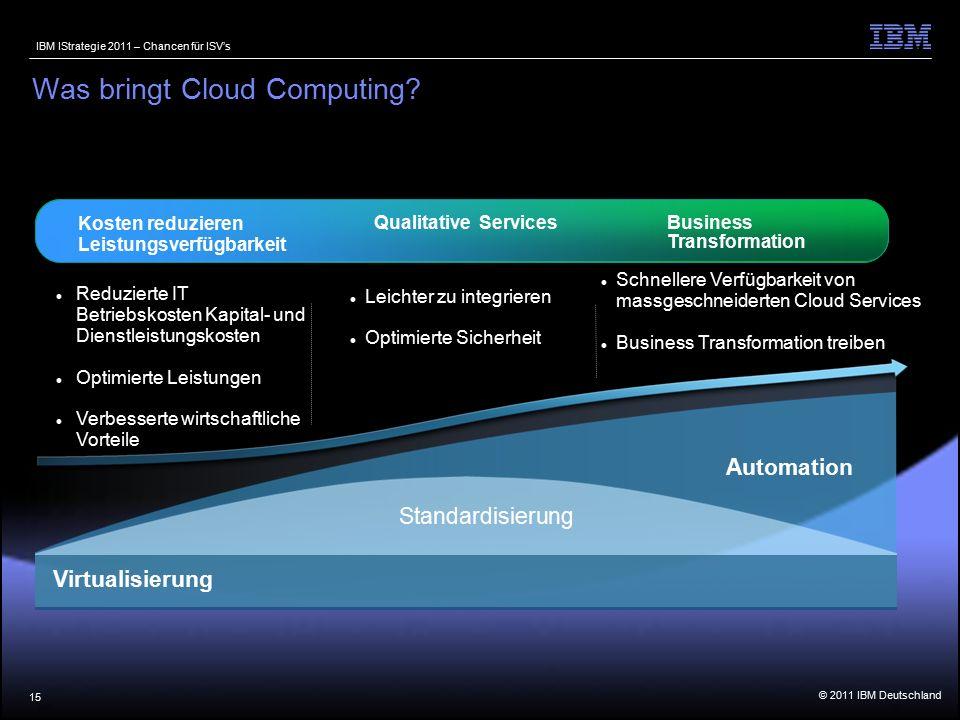 © 2011 IBM Deutschland IBM IStrategie 2011 – Chancen für ISV's 15 Was bringt Cloud Computing.