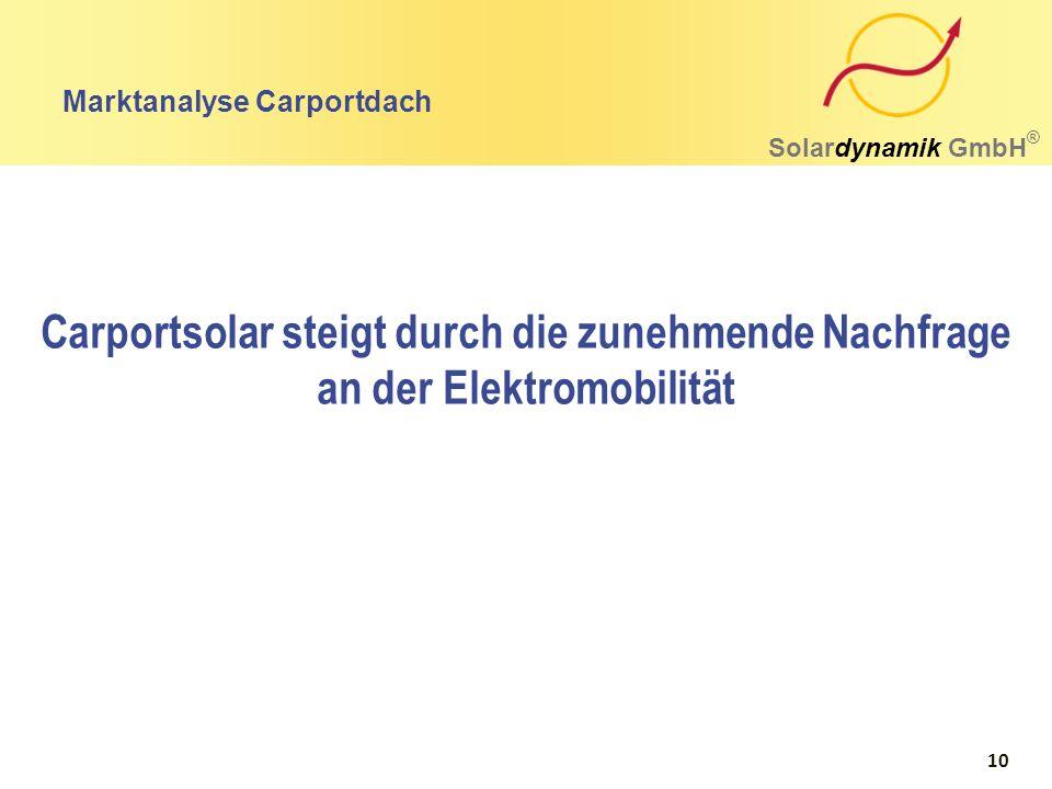 Marktanalyse Carportdach Solardynamik GmbH ® Carportsolar steigt durch die zunehmende Nachfrage an der Elektromobilität 10