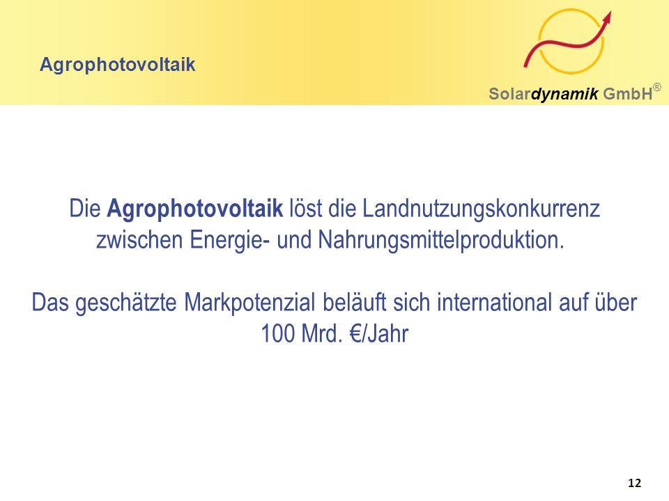 Agrophotovoltaik Solardynamik GmbH ® Die Agrophotovoltaik löst die Landnutzungskonkurrenz zwischen Energie- und Nahrungsmittelproduktion. Das geschätz