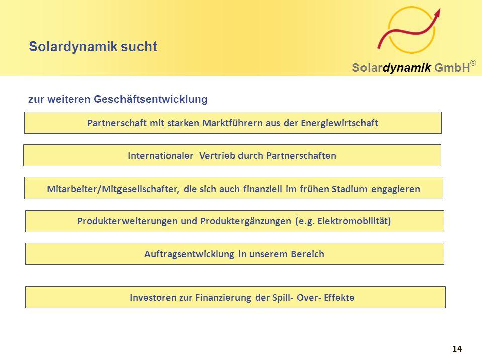 Solardynamik sucht Solardynamik GmbH ® Mitarbeiter/Mitgesellschafter, die sich auch finanziell im frühen Stadium engagieren Internationaler Vertrieb d
