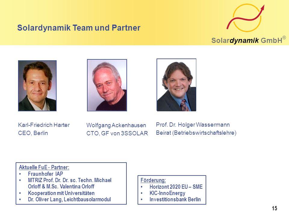Solardynamik Team und Partner Solardynamik GmbH ® Wolfgang Ackenhausen CTO, GF von 3SSOLAR Karl-Friedrich Harter CEO, Berlin Prof. Dr. Holger Wasserma