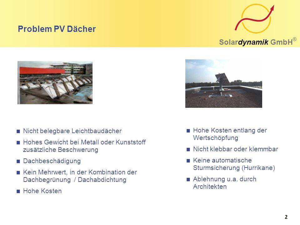 Problem PV Dächer Solardynamik GmbH ®  Nicht belegbare Leichtbaudächer  Hohes Gewicht bei Metall oder Kunststoff zusätzliche Beschwerung  Dachbesch