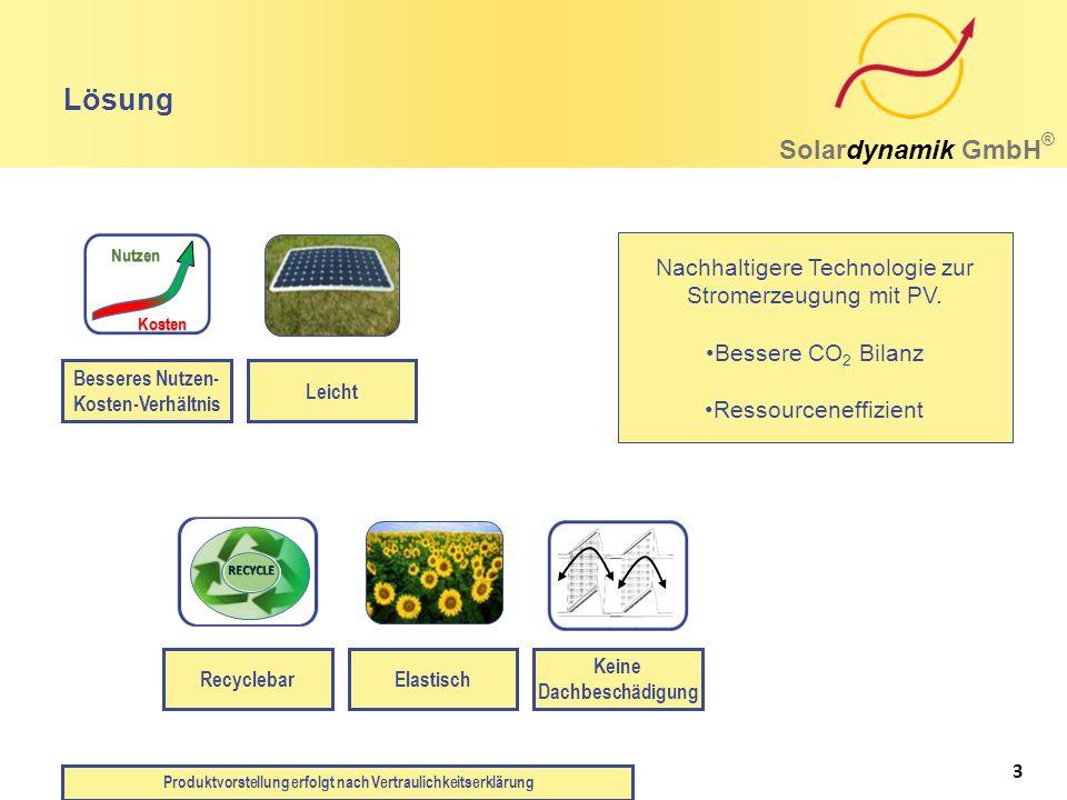 Nachhaltigere Technologie zur Stromerzeugung mit PV. Bessere CO 2 Bilanz Ressourceneffizient RecyclebarElastisch Keine Dachbeschädigung Lösung Solardy