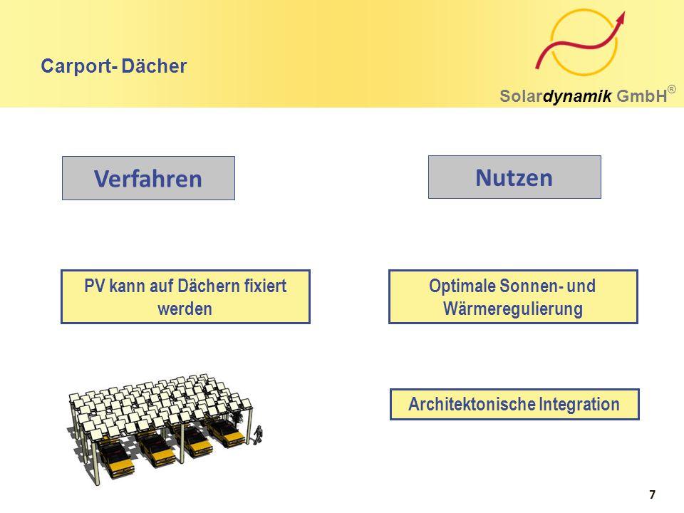 Agrophotovoltaik Solardynamik GmbH ® Kosteneffizienz durch automatische Installation möglich Überdurchschnittlich höherer Ertrag für Regionen mit extremen Wetterereignissen Konstruktionen sind mit Wasserverteilungssystemen kombinierbar Verfahren Nutzen 8