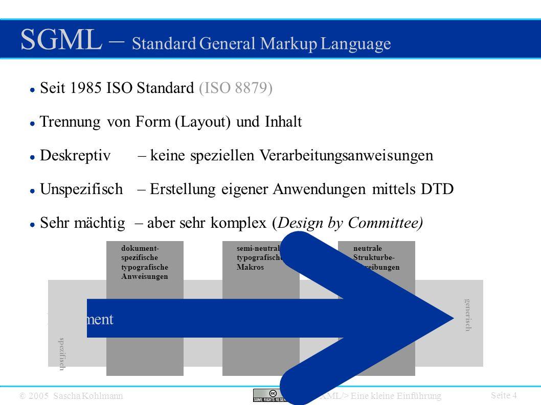 © 2005 Sascha Kohlmann Eine kleine Einführung Das XML Universum Seite 15 ● XHTML HTML in XML definiert ● CML Chemical Markup Language ● SVG Scalable Vector Graphics ● Docbook Format für von technische und andere Dokumentationen ● SMIL Synchronized Multimedia Integration Language