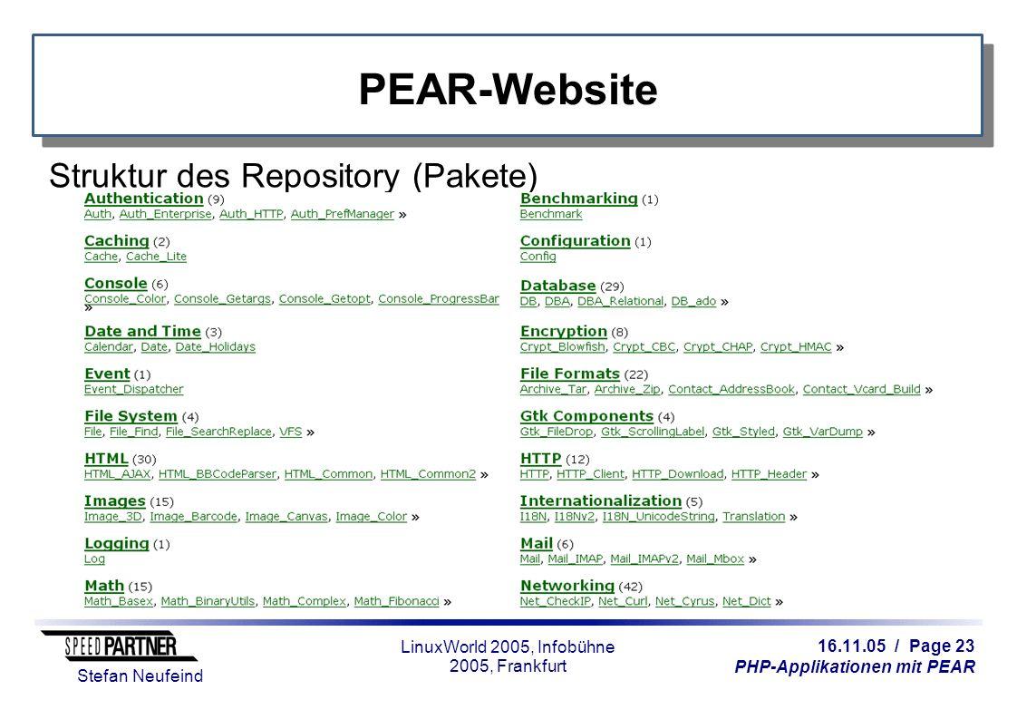 16.11.05 / Page 23 PHP-Applikationen mit PEAR Stefan Neufeind LinuxWorld 2005, Infobühne 2005, Frankfurt PEAR-Website Struktur des Repository (Pakete)