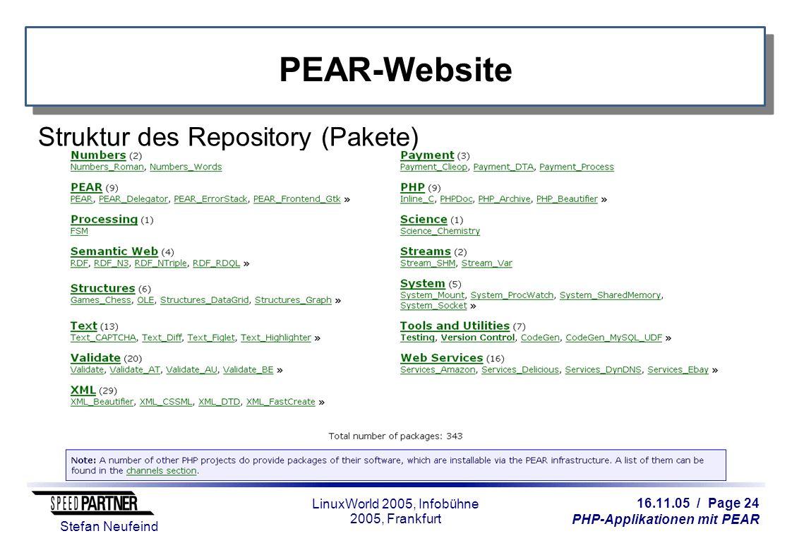 16.11.05 / Page 24 PHP-Applikationen mit PEAR Stefan Neufeind LinuxWorld 2005, Infobühne 2005, Frankfurt PEAR-Website Struktur des Repository (Pakete)