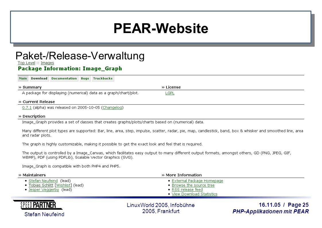 16.11.05 / Page 25 PHP-Applikationen mit PEAR Stefan Neufeind LinuxWorld 2005, Infobühne 2005, Frankfurt PEAR-Website Paket-/Release-Verwaltung