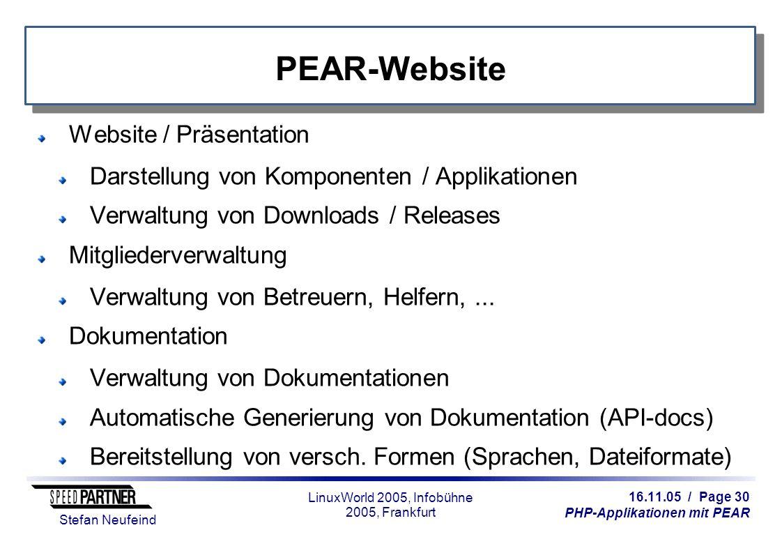 16.11.05 / Page 30 PHP-Applikationen mit PEAR Stefan Neufeind LinuxWorld 2005, Infobühne 2005, Frankfurt PEAR-Website Website / Präsentation Darstellu