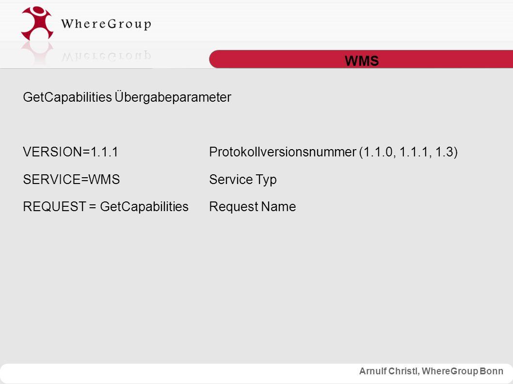 Arnulf Christl, WhereGroup Bonn WMS GetCapabilities Übergabeparameter VERSION=1.1.1Protokollversionsnummer (1.1.0, 1.1.1, 1.3) SERVICE=WMSService Typ REQUEST = GetCapabilitiesRequest Name