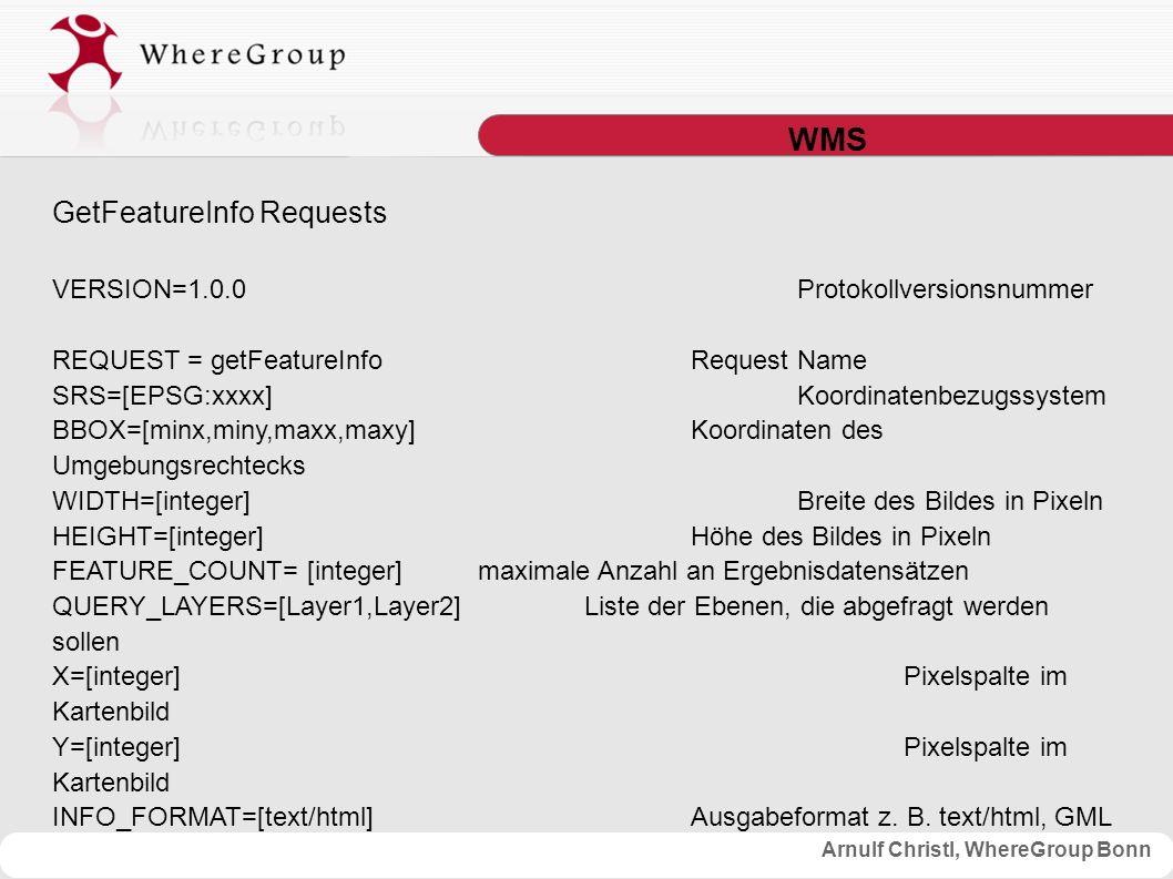Arnulf Christl, WhereGroup Bonn WMS GetFeatureInfo Requests VERSION=1.0.0Protokollversionsnummer REQUEST = getFeatureInfoRequest Name SRS=[EPSG:xxxx]Koordinatenbezugssystem BBOX=[minx,miny,maxx,maxy]Koordinaten des Umgebungsrechtecks WIDTH=[integer]Breite des Bildes in Pixeln HEIGHT=[integer]Höhe des Bildes in Pixeln FEATURE_COUNT= [integer] maximale Anzahl an Ergebnisdatensätzen QUERY_LAYERS=[Layer1,Layer2]Liste der Ebenen, die abgefragt werden sollen X=[integer]Pixelspalte im Kartenbild Y=[integer]Pixelspalte im Kartenbild INFO_FORMAT=[text/html]Ausgabeformat z.