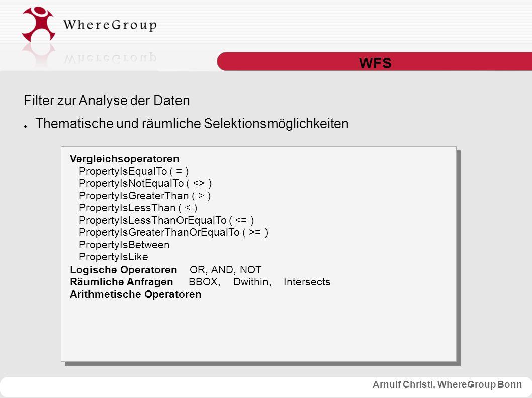 Arnulf Christl, WhereGroup Bonn WFS Filter zur Analyse der Daten ● Thematische und räumliche Selektionsmöglichkeiten Vergleichsoperatoren PropertyIsEqualTo ( = ) PropertyIsNotEqualTo ( <> ) PropertyIsGreaterThan ( > ) PropertyIsLessThan ( < ) PropertyIsLessThanOrEqualTo ( <= ) PropertyIsGreaterThanOrEqualTo ( >= ) PropertyIsBetween PropertyIsLike Logische Operatoren OR, AND, NOT Räumliche Anfragen BBOX, Dwithin, Intersects Arithmetische Operatoren