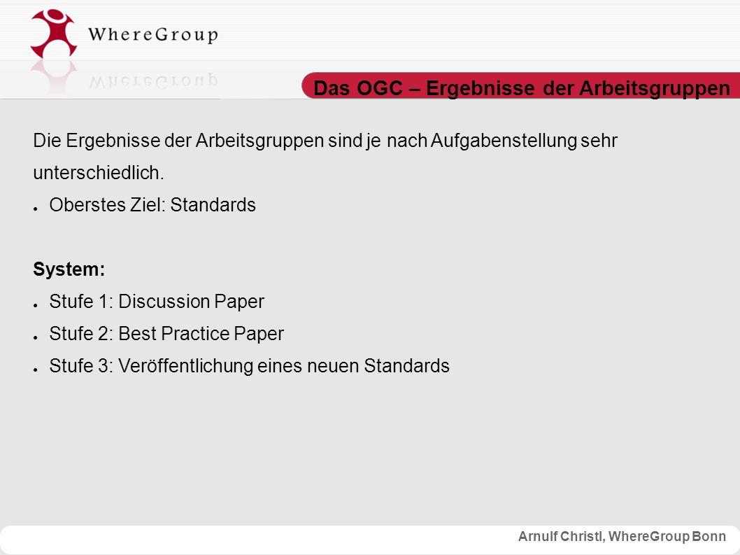 Arnulf Christl, WhereGroup Bonn Das OGC - Programme Innerhalb des OGC gibt es für registrierte Mitglieder 3 Programme: 1.