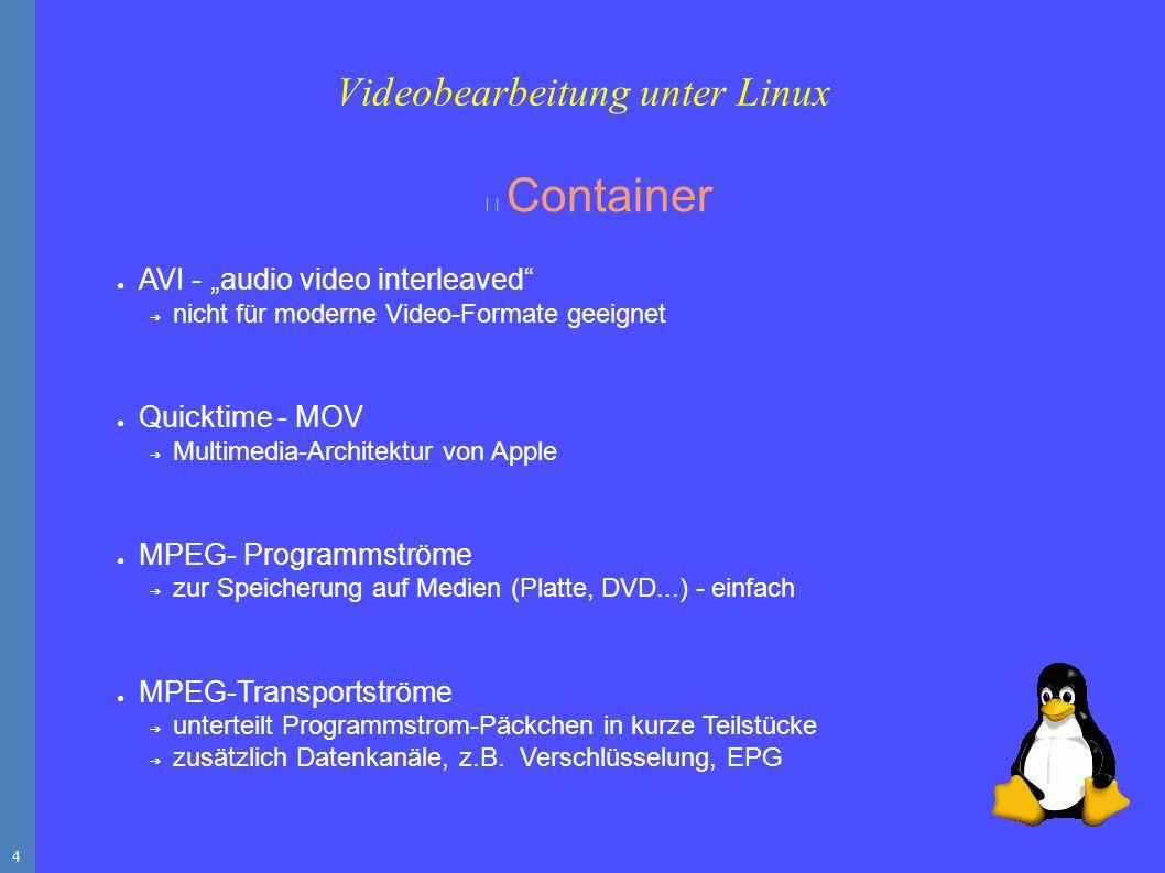 """4 Container ● AVI - """"audio video interleaved ➔ nicht für moderne Video-Formate geeignet ● Quicktime - MOV ➔ Multimedia-Architektur von Apple ● MPEG- Programmströme ➔ zur Speicherung auf Medien (Platte, DVD...) - einfach ● MPEG-Transportströme ➔ unterteilt Programmstrom-Päckchen in kurze Teilstücke ➔ zusätzlich Datenkanäle, z.B."""