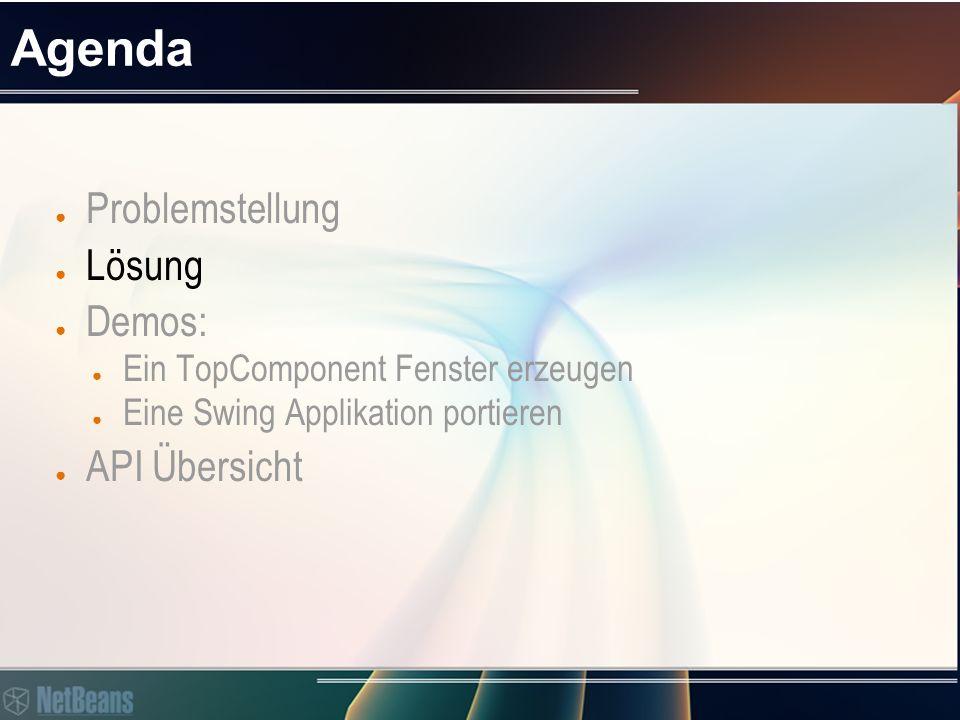 Lösung: TopComponent ● Logische Fensterverwaltung ● Fensterdarstellung (Window state) ● Selektionsverwaltung (Selection management)