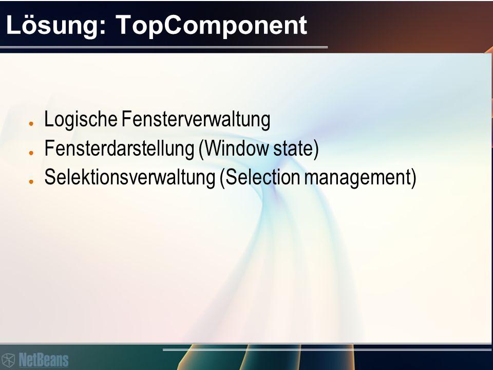 Agenda ● Problemstellung ● Lösung ● Demos: ● Ein TopComponent Fenster erzeugen ● Eine Swing Applikation portieren ● API Übersicht