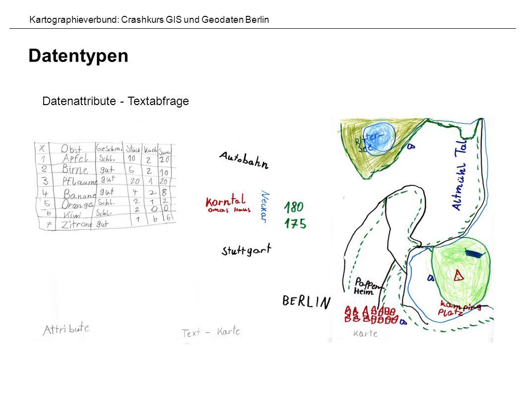 Datenattribute - Textabfrage Datentypen Kartographieverbund: Crashkurs GIS und Geodaten Berlin