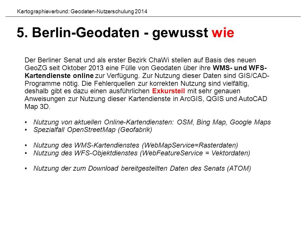 Der Berliner Senat und als erster Bezirk ChaWi stellen auf Basis des neuen GeoZG seit Oktober 2013 eine Fülle von Geodaten über ihre WMS- und WFS- Kartendienste online zur Verfügung.