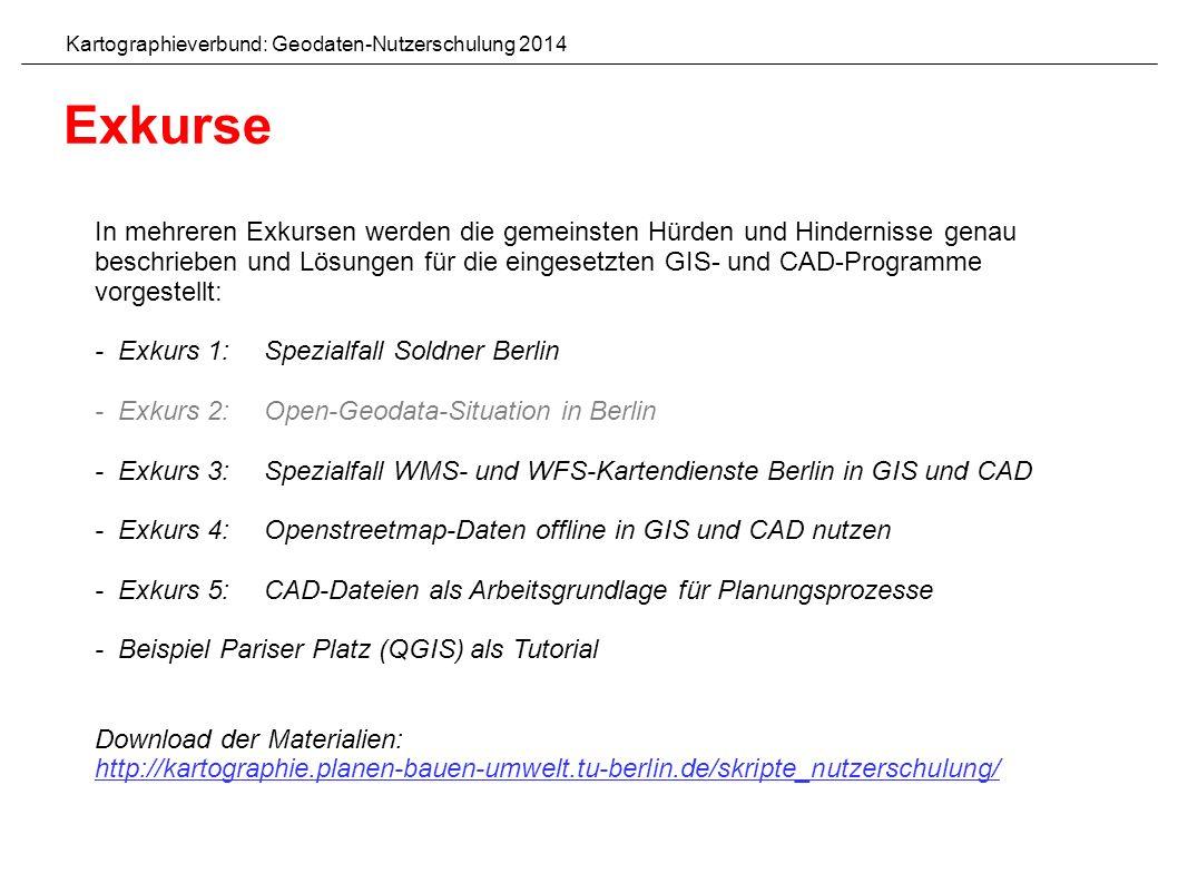 In mehreren Exkursen werden die gemeinsten Hürden und Hindernisse genau beschrieben und Lösungen für die eingesetzten GIS- und CAD-Programme vorgestellt: - Exkurs 1: Spezialfall Soldner Berlin - Exkurs 2: Open-Geodata-Situation in Berlin - Exkurs 3: Spezialfall WMS- und WFS-Kartendienste Berlin in GIS und CAD - Exkurs 4: Openstreetmap-Daten offline in GIS und CAD nutzen - Exkurs 5: CAD-Dateien als Arbeitsgrundlage für Planungsprozesse - Beispiel Pariser Platz (QGIS) als Tutorial Download der Materialien: http://kartographie.planen-bauen-umwelt.tu-berlin.de/skripte_nutzerschulung/ Kartographieverbund: Geodaten-Nutzerschulung 2014 Exkurse