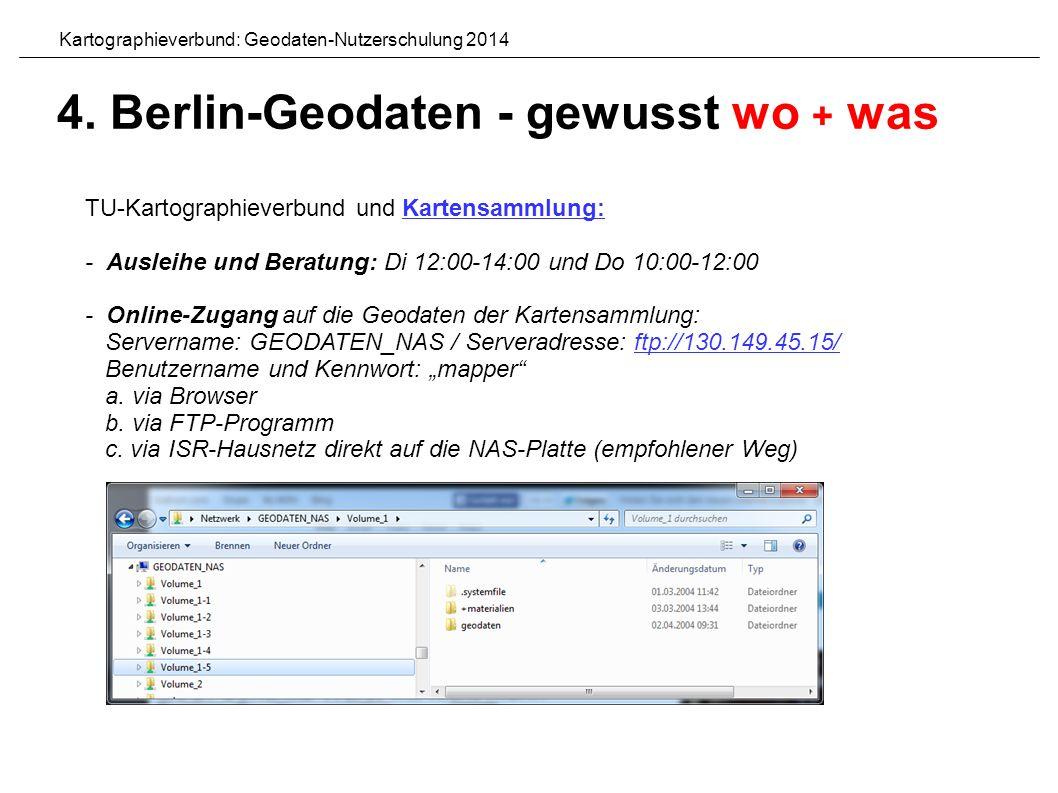 """TU-Kartographieverbund und Kartensammlung:Kartensammlung: - Ausleihe und Beratung: Di 12:00-14:00 und Do 10:00-12:00 - Online-Zugang auf die Geodaten der Kartensammlung: Servername: GEODATEN_NAS / Serveradresse: ftp://130.149.45.15/ftp://130.149.45.15/ Benutzername und Kennwort: """"mapper a."""