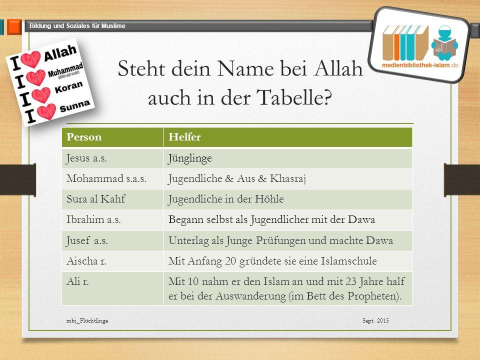 Bildung und Soziales für Muslime Steht dein Name bei Allah auch in der Tabelle.