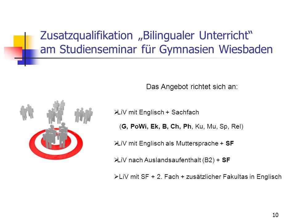 """Zusatzqualifikation """"Bilingualer Unterricht am Studienseminar für Gymnasien Wiesbaden 10 Das Angebot richtet sich an:  LiV mit Englisch + Sachfach (G, PoWi, Ek, B, Ch, Ph, Ku, Mu, Sp, Rel)  LiV mit Englisch als Muttersprache + SF  LiV nach Auslandsaufenthalt (B2) + SF  LiV mit SF + 2."""