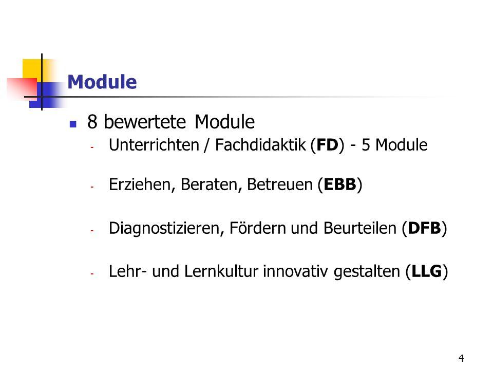 4 Module 8 bewertete Module - Unterrichten / Fachdidaktik (FD) - 5 Module - Erziehen, Beraten, Betreuen (EBB) - Diagnostizieren, Fördern und Beurteilen (DFB) - Lehr- und Lernkultur innovativ gestalten (LLG)
