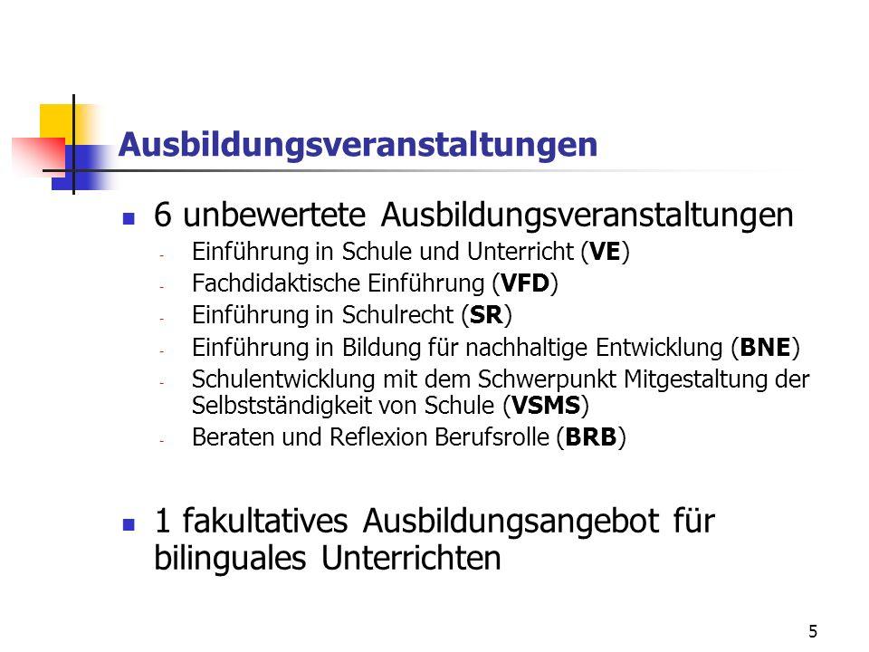 5 Ausbildungsveranstaltungen 6 unbewertete Ausbildungsveranstaltungen - Einführung in Schule und Unterricht (VE) - Fachdidaktische Einführung (VFD) - Einführung in Schulrecht (SR) - Einführung in Bildung für nachhaltige Entwicklung (BNE) - Schulentwicklung mit dem Schwerpunkt Mitgestaltung der Selbstständigkeit von Schule (VSMS) - Beraten und Reflexion Berufsrolle (BRB) 1 fakultatives Ausbildungsangebot für bilinguales Unterrichten