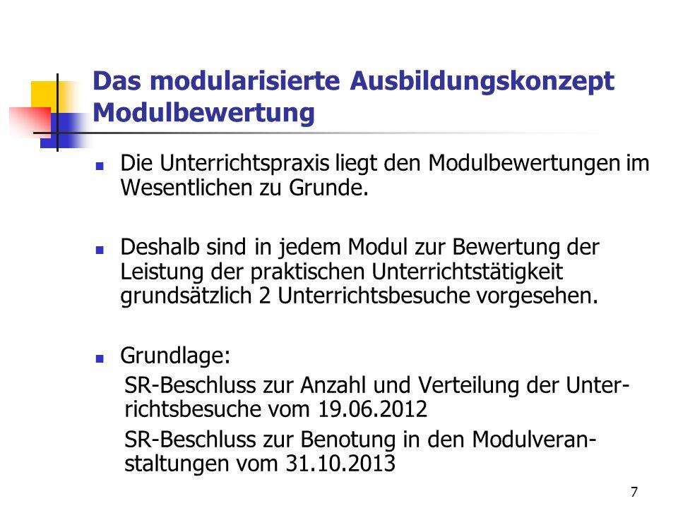 7 Das modularisierte Ausbildungskonzept Modulbewertung Die Unterrichtspraxis liegt den Modulbewertungen im Wesentlichen zu Grunde.