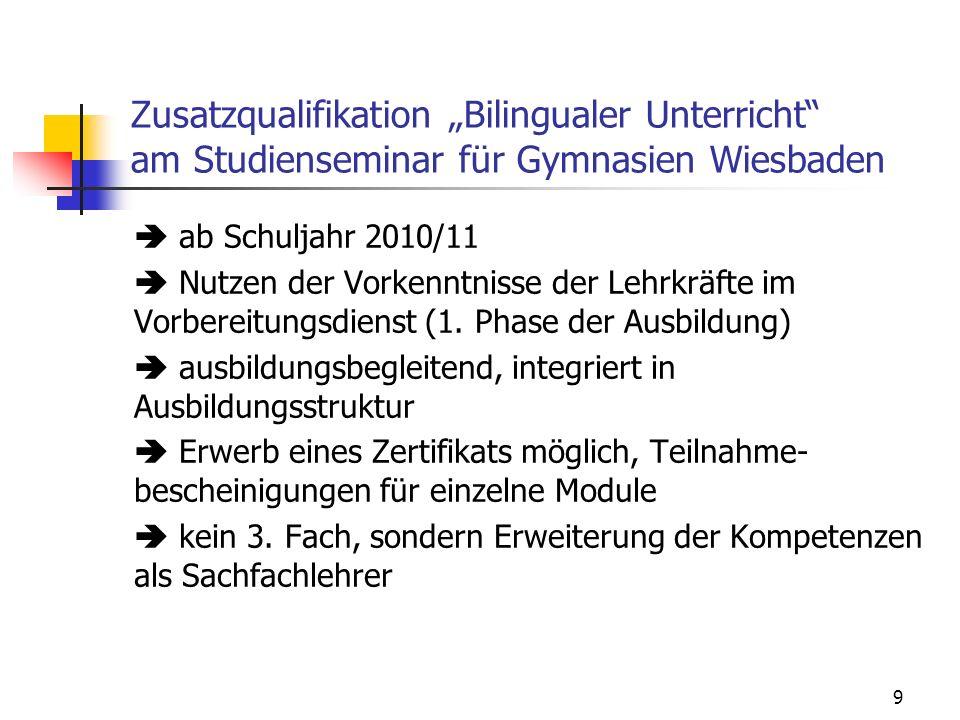 """Zusatzqualifikation """"Bilingualer Unterricht"""" am Studienseminar für Gymnasien Wiesbaden  ab Schuljahr 2010/11  Nutzen der Vorkenntnisse der Lehrkräft"""