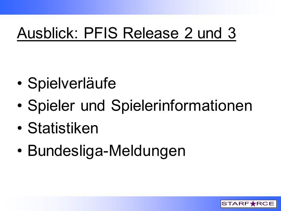 Ausblick: PFIS Release 2 und 3 Spielverläufe Spieler und Spielerinformationen Statistiken Bundesliga-Meldungen