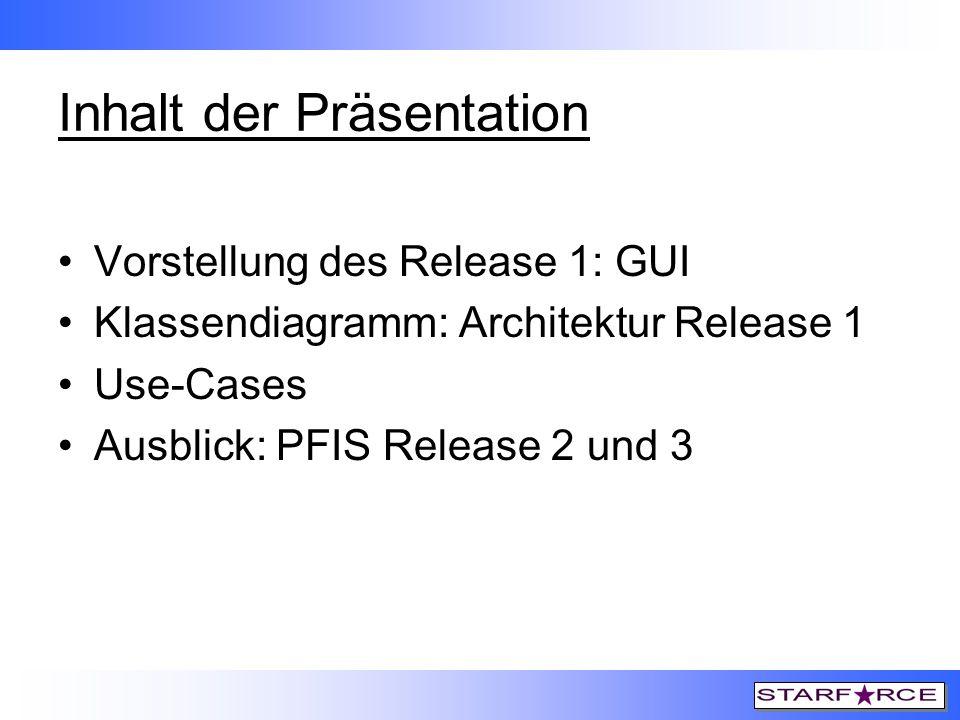 Inhalt der Präsentation Vorstellung des Release 1: GUI Klassendiagramm: Architektur Release 1 Use-Cases Ausblick: PFIS Release 2 und 3