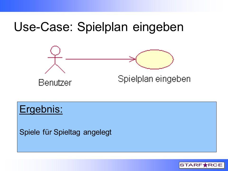 Use-Case: Spielplan eingeben Auslöser: 1. Links-Klick auf Symbol 2. Links-Klick auf Menüpunkt Bearbeiten->Spiele eingeben… Vorbedingungen: Es sind 18