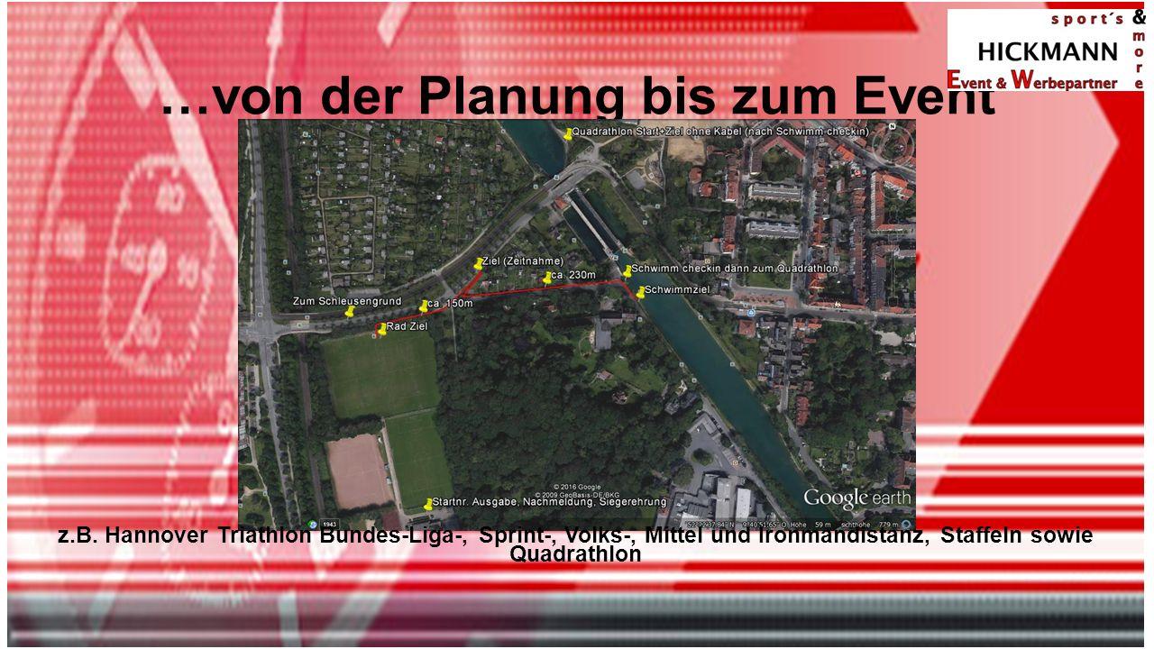 …von der Planung bis zum Event z.B. Hannover Triathlon Bundes-Liga-, Sprint-, Volks-, Mittel und Ironmandistanz, Staffeln sowie Quadrathlon