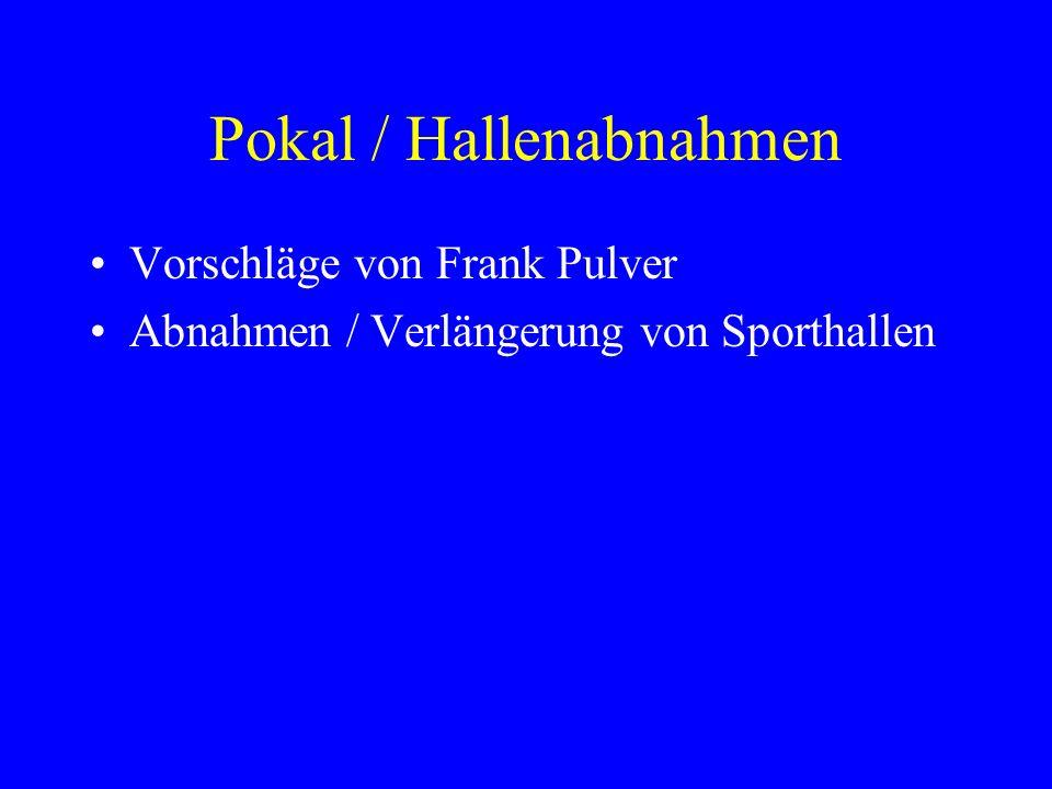 Pokal / Hallenabnahmen Vorschläge von Frank Pulver Abnahmen / Verlängerung von Sporthallen