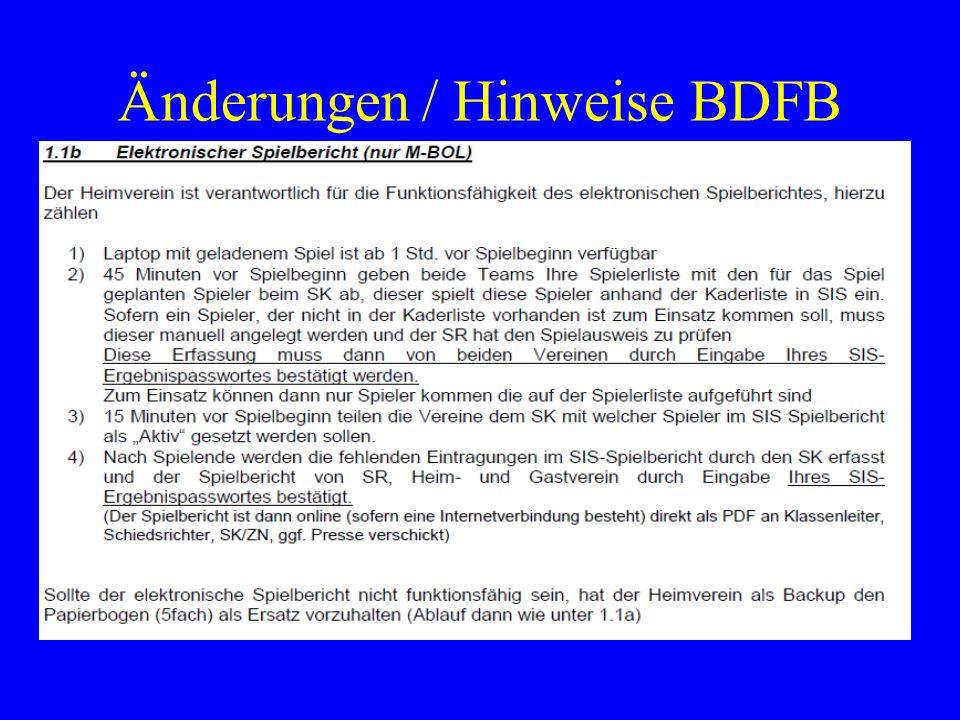 Änderungen / Hinweise BDFB