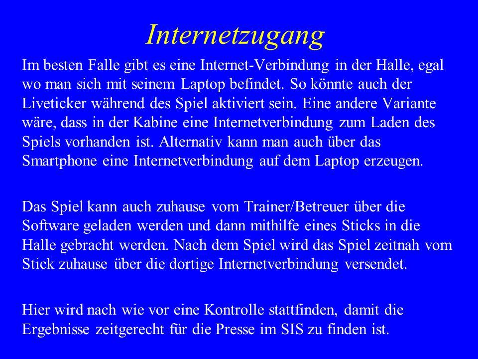 Internetzugang Im besten Falle gibt es eine Internet-Verbindung in der Halle, egal wo man sich mit seinem Laptop befindet.