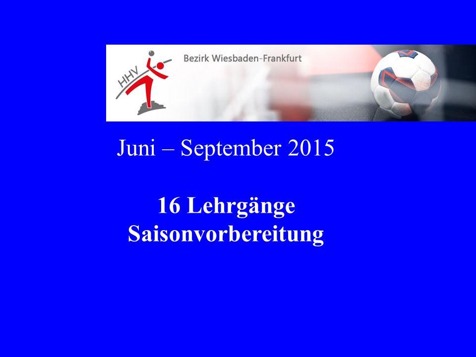 Juni – September 2015 16 Lehrgänge Saisonvorbereitung