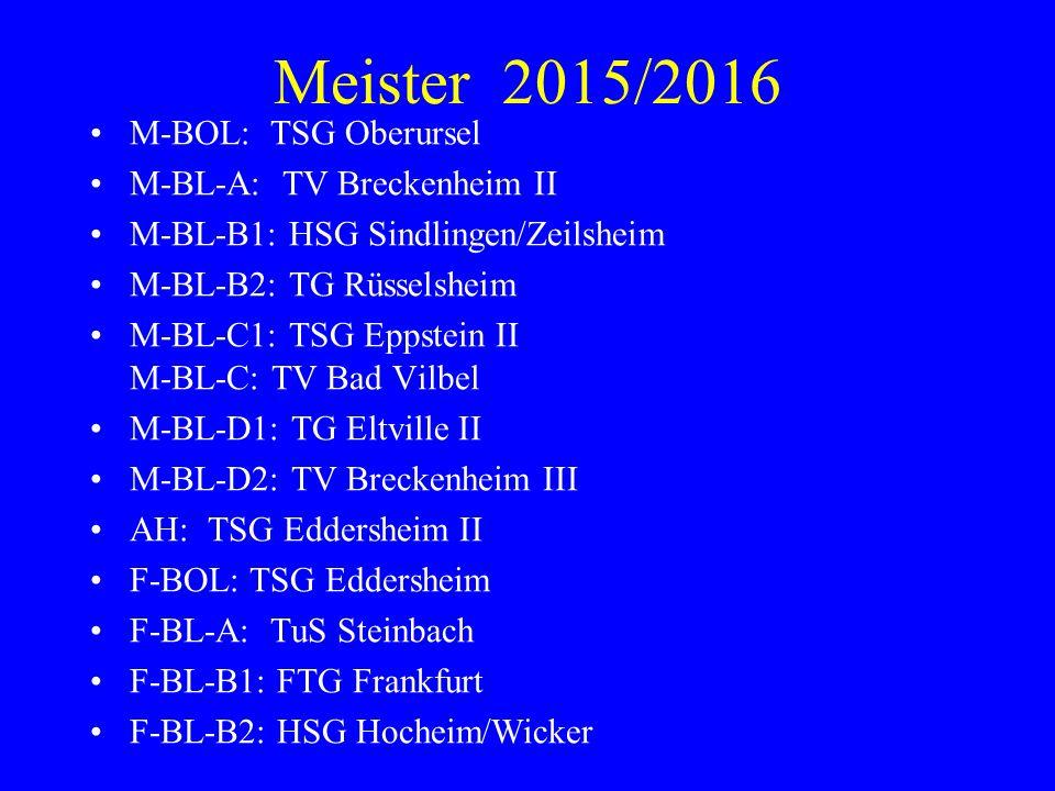 Meister 2015/2016 M-BOL: TSG Oberursel M-BL-A: TV Breckenheim II M-BL-B1: HSG Sindlingen/Zeilsheim M-BL-B2: TG Rüsselsheim M-BL-C1: TSG Eppstein II M-BL-C: TV Bad Vilbel M-BL-D1: TG Eltville II M-BL-D2: TV Breckenheim III AH: TSG Eddersheim II F-BOL: TSG Eddersheim F-BL-A: TuS Steinbach F-BL-B1: FTG Frankfurt F-BL-B2: HSG Hocheim/Wicker