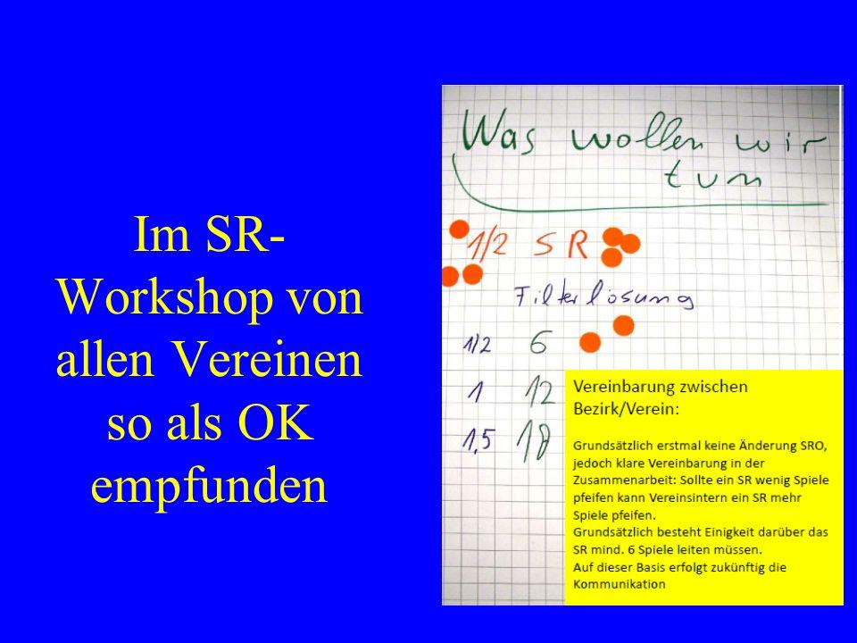 Im SR- Workshop von allen Vereinen so als OK empfunden