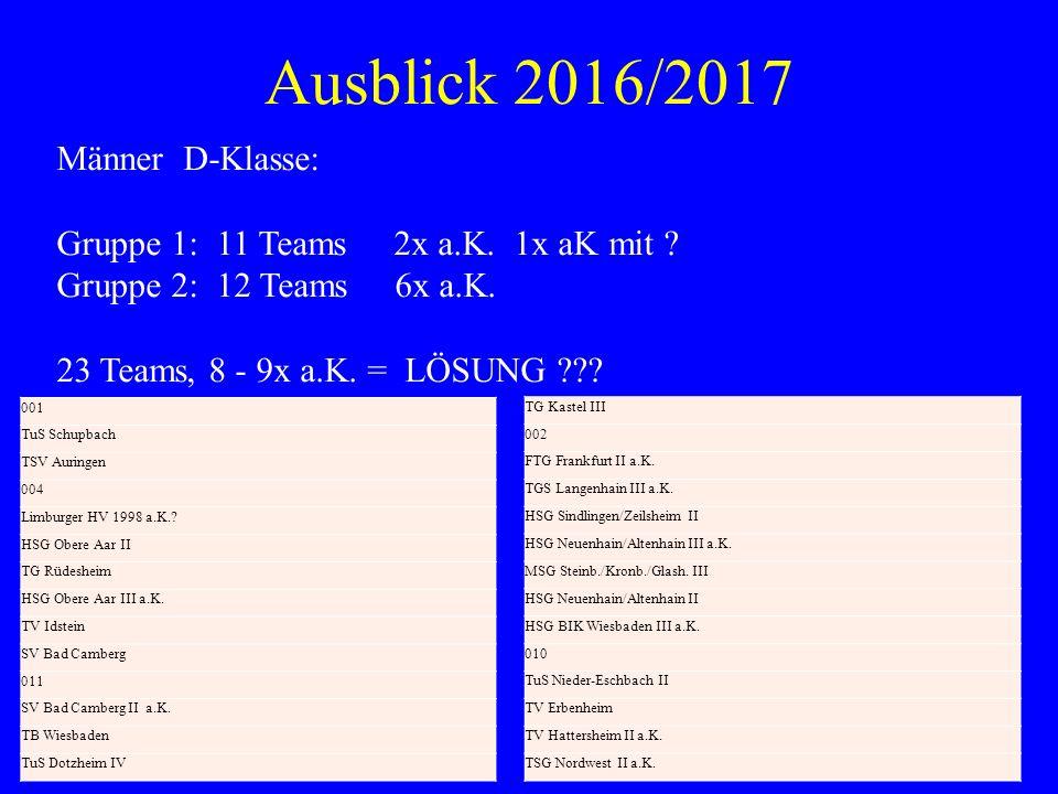 Ausblick 2016/2017 Männer D-Klasse: Gruppe 1: 11 Teams 2x a.K. 1x aK mit ? Gruppe 2: 12 Teams 6x a.K. 23 Teams, 8 - 9x a.K. = LÖSUNG ??? 001 TuS Schup