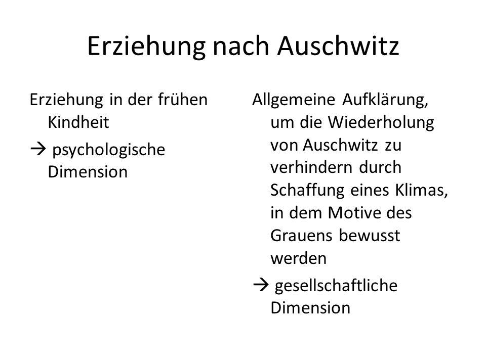 Erziehung nach Auschwitz Erziehung in der frühen Kindheit  psychologische Dimension Allgemeine Aufklärung, um die Wiederholung von Auschwitz zu verhi