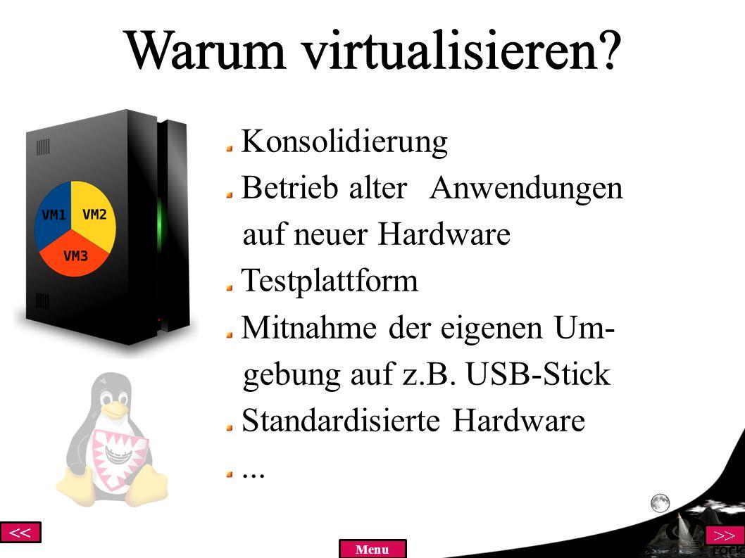 << >> Menu Warum VirtualBox.