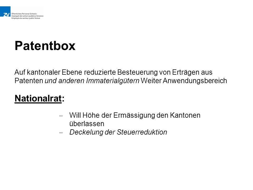 Patentbox Auf kantonaler Ebene reduzierte Besteuerung von Erträgen aus Patenten und anderen Immaterialgütern Weiter Anwendungsbereich Nationalrat:  Will Höhe der Ermässigung den Kantonen überlassen  Deckelung der Steuerreduktion