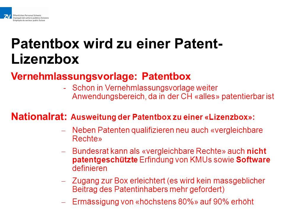 Patentbox wird zu einer Patent- Lizenzbox Vernehmlassungsvorlage: Patentbox -Schon in Vernehmlassungsvorlage weiter Anwendungsbereich, da in der CH «alles» patentierbar ist Nationalrat: Ausweitung der Patentbox zu einer «Lizenzbox»:  Neben Patenten qualifizieren neu auch «vergleichbare Rechte»  Bundesrat kann als «vergleichbare Rechte» auch nicht patentgeschützte Erfindung von KMUs sowie Software definieren  Zugang zur Box erleichtert (es wird kein massgeblicher Beitrag des Patentinhabers mehr gefordert)  Ermässigung von «höchstens 80%» auf 90% erhöht