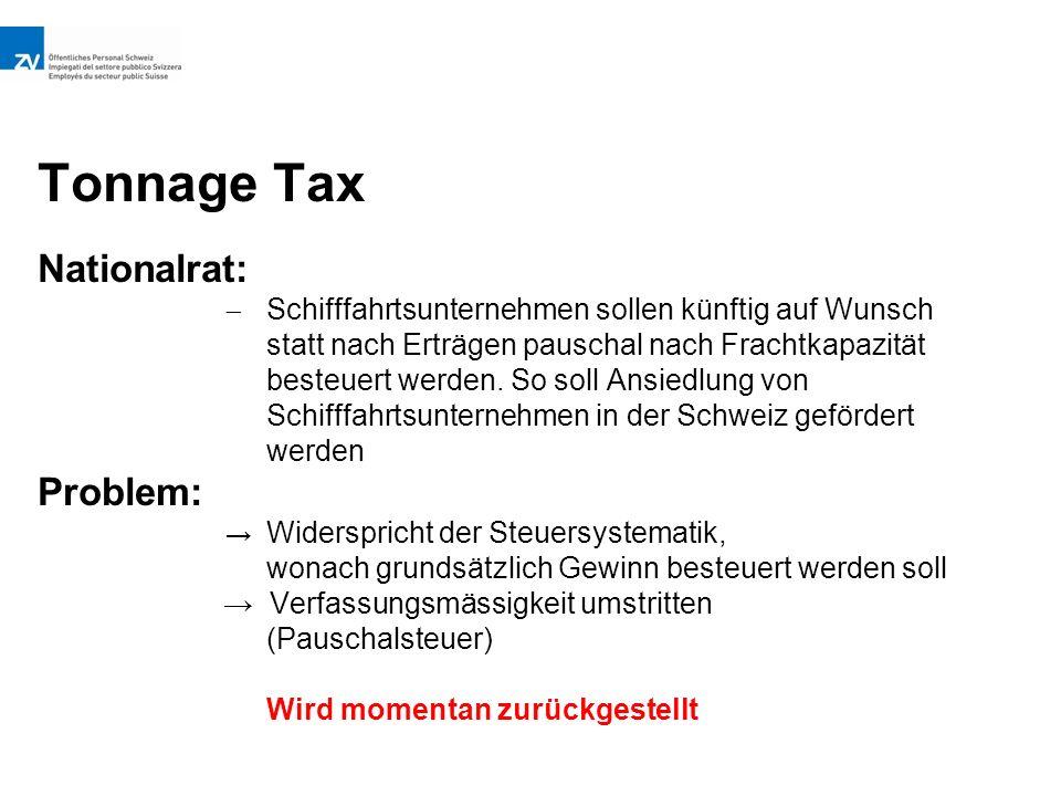 Tonnage Tax Nationalrat:  Schifffahrtsunternehmen sollen künftig auf Wunsch statt nach Erträgen pauschal nach Frachtkapazität besteuert werden.